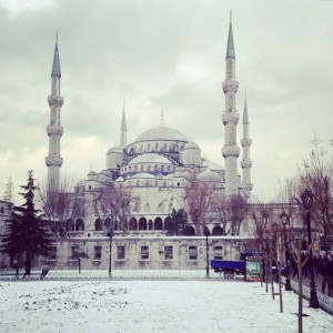 Istanbul's Blue Mosque snowcapped in winter. © S.Mantoo
